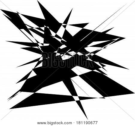 Abstract Artistic Illustration. Black And White Geometric - Textured Element.