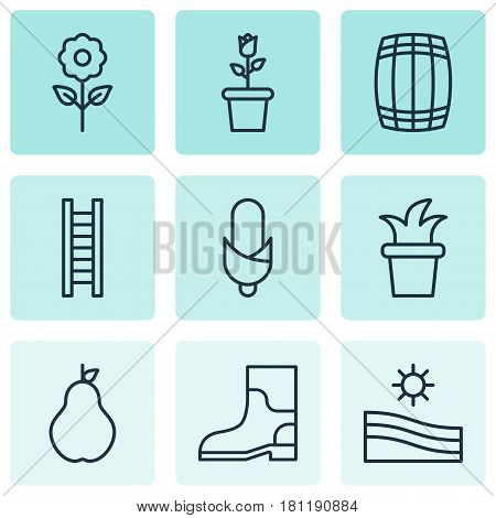 Set Of 9 Holticulture Icons. Includes Bush Pot, Rubber Boot, Maize And Other Symbols. Beautiful Design Elements.