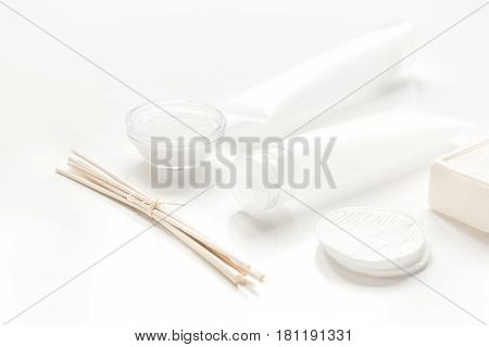 cosmetic set for homemade spa in body care consept on white woman table background