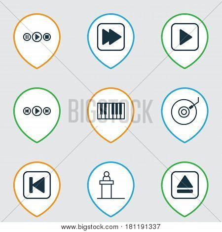 Set Of 9 Audio Icons. Includes Piano, Song UI, Run Song Back And Other Symbols. Beautiful Design Elements.