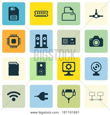 Set Of 16 Computer Hardware Icons. Includes Network Structure, Diskette, Wireless And Other Symbols. Beautiful Design Elements.