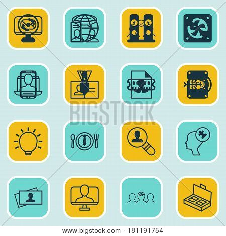 Set Of 16 Business Management Icons. Includes Great Glimpse, Human Mind, Email And Other Symbols. Beautiful Design Elements.