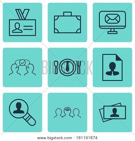 Set Of 9 Business Management Icons. Includes Coaching, Dinner, Email And Other Symbols. Beautiful Design Elements.