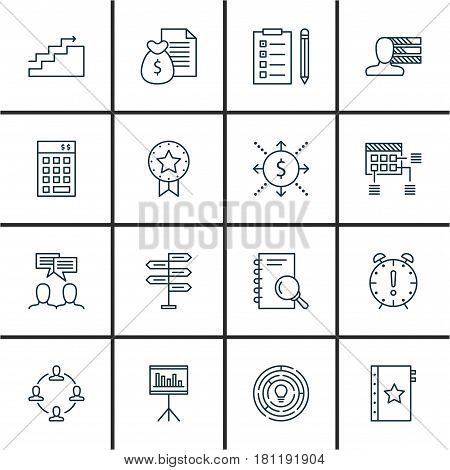 Set Of 16 Project Management Icons. Includes Growth, Money, Report And Other Symbols. Beautiful Design Elements.