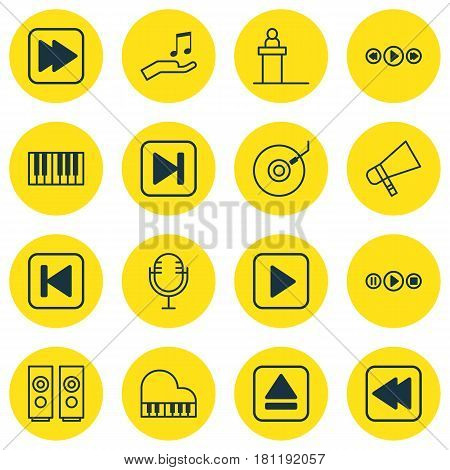 Set Of 16 Audio Icons. Includes Piano, Start Song, Sound Box And Other Symbols. Beautiful Design Elements.