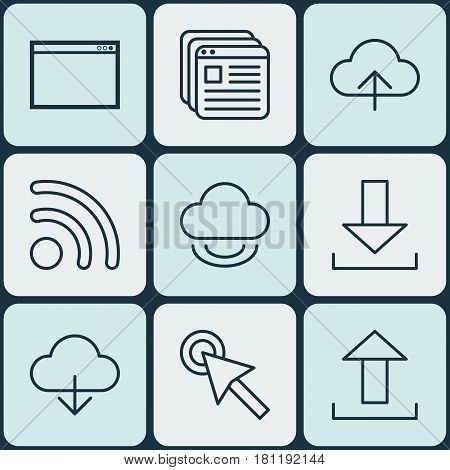 Set Of 9 World Wide Web Icons. Includes Program, Website Bookmarks, Login And Other Symbols. Beautiful Design Elements.