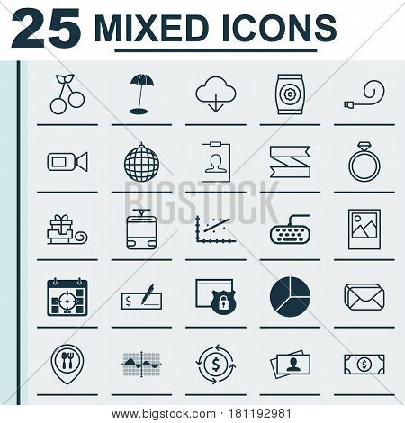 Set Of 25 Universal Editable Icons. Can Be Used For Web, Mobile And App Design. Includes Elements Such As Food Mapping, Mailbox, Blank Ribbon And More.