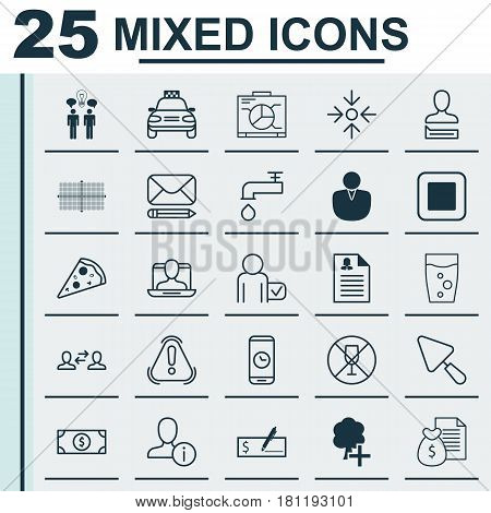 Set Of 25 Universal Editable Icons. Can Be Used For Web, Mobile And App Design. Includes Elements Such As Business Exchange, Board, Alcohol Forbid And More.