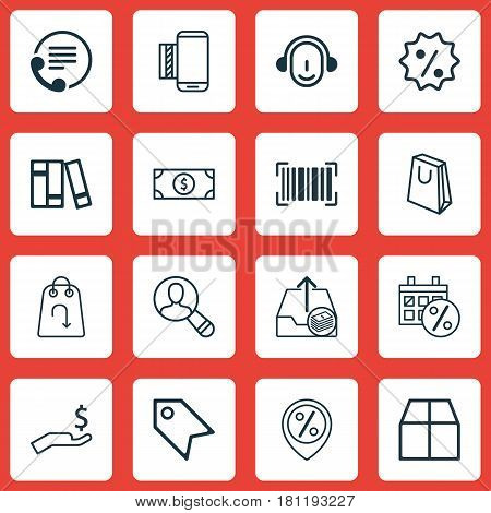 Set Of 16 E-Commerce Icons. Includes Discount Location, Mobile Service, Refund And Other Symbols. Beautiful Design Elements.