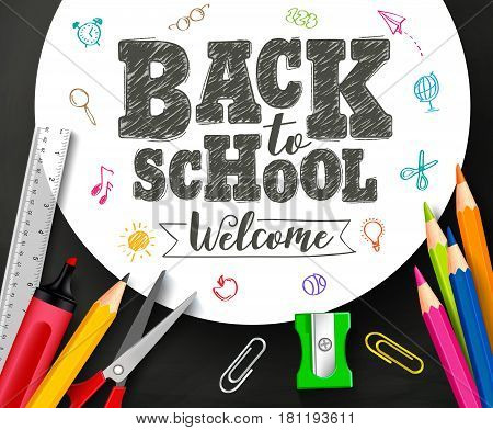 Back to school vector banner design with drawing and typography by crayons in white background with school supplies and items. Vector illustration.