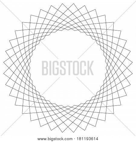 Geometric Circular Pattern. Abstract Motif With Radiating Intersecting Lines