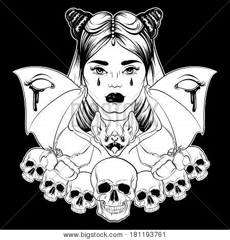 Vector illustration in hand drawn realistic style with skull and bat. Tattoo artwork. Dark fashion sketch. Template for poster banner card print for t-shirt. Dark fashion artwork