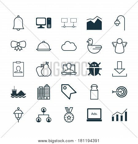 Set Of 25 Universal Editable Icons. Can Be Used For Web, Mobile And App Design. Includes Elements Such As Arrow, Goose, Dining And More.