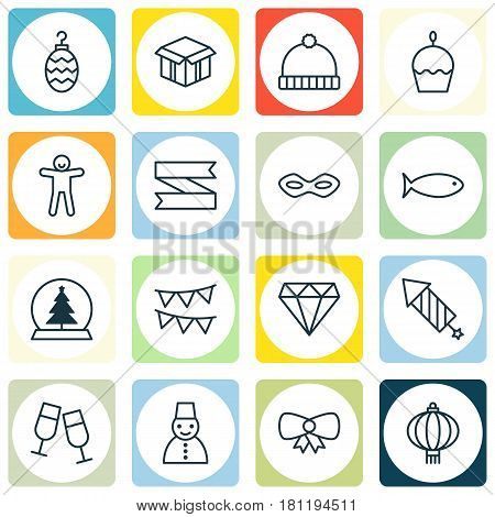 Set Of 16 Holiday Icons. Includes Knitted Cap, Butterfly Knot, Magic Sphere And Other Symbols. Beautiful Design Elements.