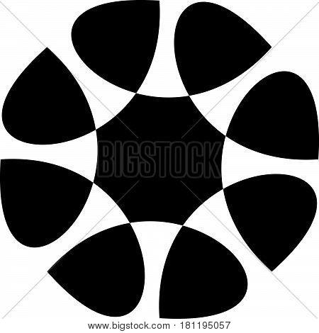 Contour Of Abstract Spiral Shape, Element. Rotating Abstract Motif, Mandala