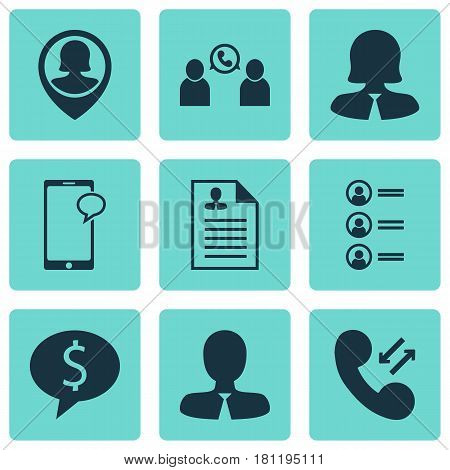 Set Of 9 Hr Icons. Includes Curriculum Vitae, Pin Employee, Cellular Data And Other Symbols. Beautiful Design Elements.