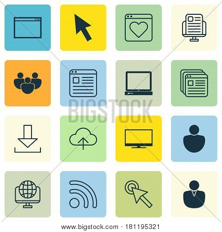Set Of 16 Online Connection Icons. Includes Computer Network, PC, Human And Other Symbols. Beautiful Design Elements.