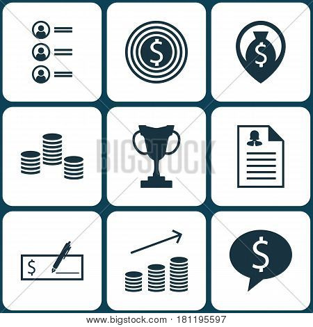 Set Of 9 Human Resources Icons. Includes Money Navigation, Coins Growth, Female Application And Other Symbols. Beautiful Design Elements.