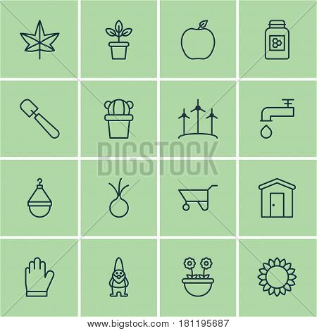 Set Of 16 Planting Icons. Includes Shovel, Helianthus, Jar And Other Symbols. Beautiful Design Elements.