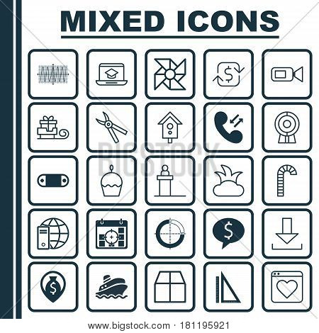 Set Of 25 Universal Editable Icons. Can Be Used For Web, Mobile And App Design. Includes Elements Such As Toboggan, Recurring Payements, Cardboard And More.