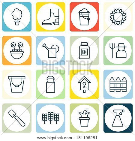 Set Of 16 Plant Icons. Includes Birdhouse, Bailer, Wheat And Other Symbols. Beautiful Design Elements.