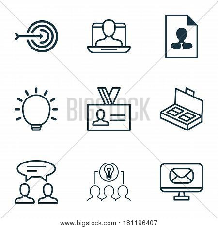 Set Of 9 Business Management Icons. Includes Collaborative Solution, Dialogue, Cv And Other Symbols. Beautiful Design Elements.
