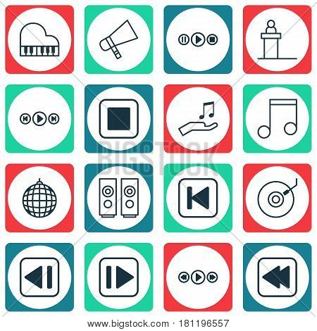 Set Of 16 Audio Icons. Includes Song UI, Octave, Rostrum And Other Symbols. Beautiful Design Elements.