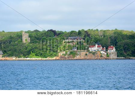 Historic oceanview mansion at Gloucester Harbor, Massachusetts, USA.