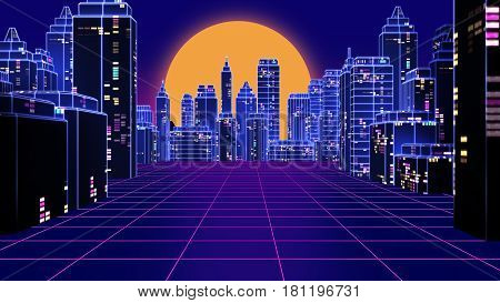 Retro Futuristic Skyscraper City 1980S Style 3D Illustration.