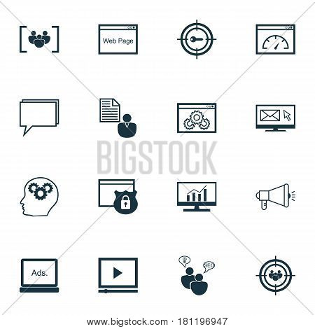 Set Of 16 SEO Icons. Includes Security, Digital Media, Newsletter And Other Symbols. Beautiful Design Elements.