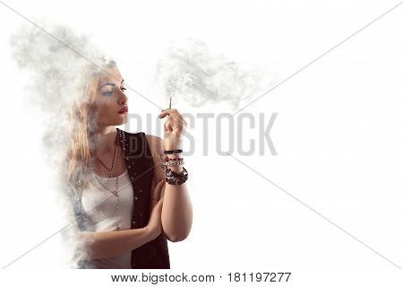 Woman smokes a cigarette in a cloud of smoke
