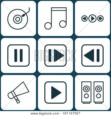 Set Of 9 Multimedia Icons. Includes Gramophone, Start Song, Last Song And Other Symbols. Beautiful Design Elements.