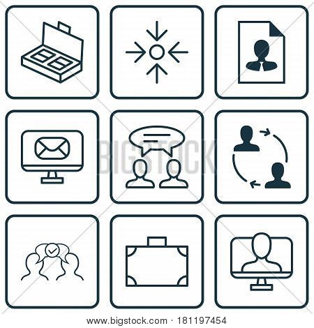 Set Of 9 Business Management Icons. Includes Cv, Cooperation, Business Aim And Other Symbols. Beautiful Design Elements.