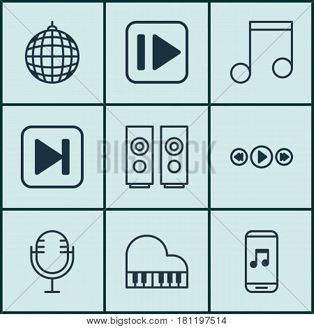 Set Of 9 Audio Icons. Includes Skip Song, Following Music, Audio Mobile And Other Symbols. Beautiful Design Elements.