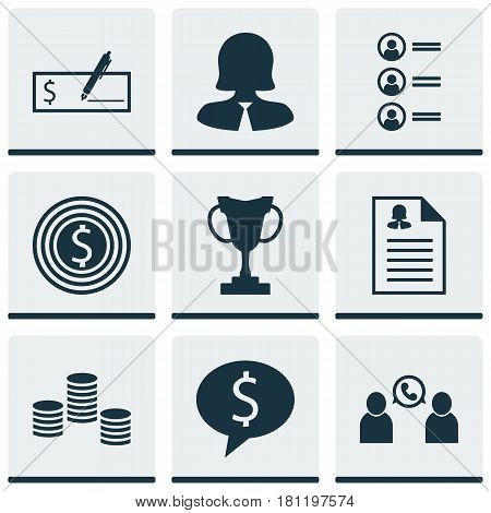 Set Of 9 Hr Icons. Includes Business Goal, Business Deal, Female Application And Other Symbols. Beautiful Design Elements.