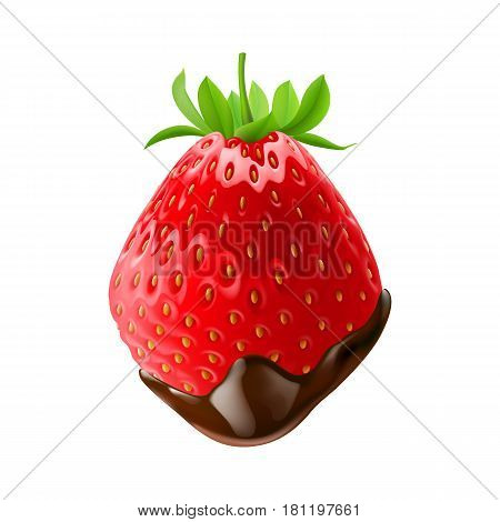 Strawberry with Green Leaves in Chocolate Dipping White Background