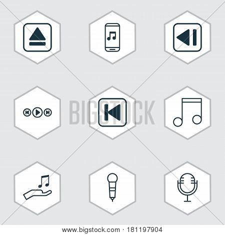 Set Of 9 Music Icons. Includes Microphone, Mike, Run Song Back And Other Symbols. Beautiful Design Elements.