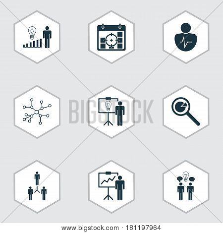 Set Of 9 Authority Icons. Includes Project Analysis, Co-Working, Decision Making And Other Symbols. Beautiful Design Elements.