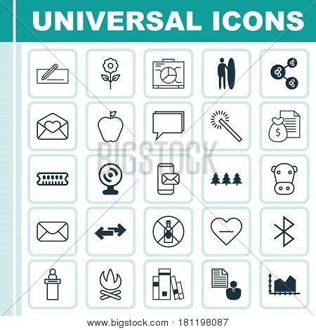 Set Of 25 Universal Editable Icons. Can Be Used For Web, Mobile And App Design. Includes Elements Such As Kine, Conference, Dynamic Memory And More.