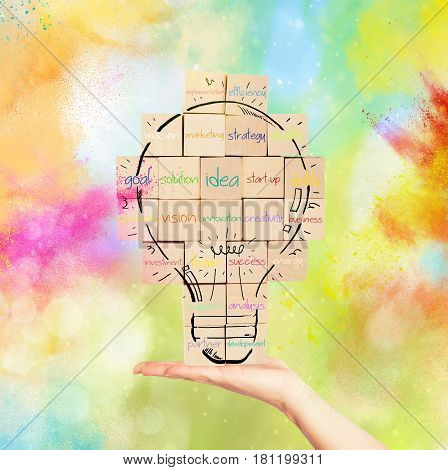 Brick wall with drawn lightbulb with business terms on colourful powders background. Concept of creating a new idea.