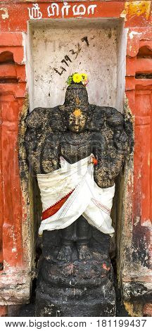Lord Brahma's statue at an ancient temple at Tiruchirapalli, Tamil Nadu, India captured on January 28th, 2017