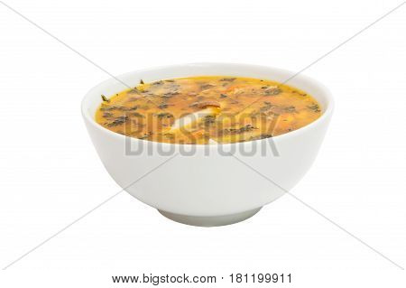 Chicken soup foodstuff isolated on white background