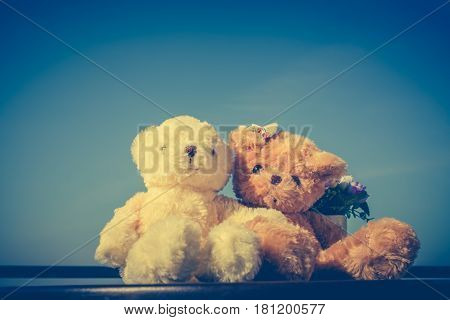 Vintage tone image of two beautiful doll sitting on table blue sky background. Concept teddy bears couple with love and relationship for valentine day. Greeting or gift card design idea.