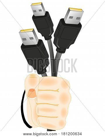 Much cables with connector in hand of the person