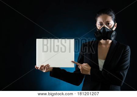 Asian Woman Wearing A Mask Presenting Blank Board