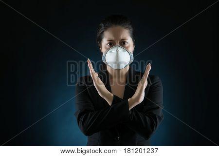 Woman Wear Face Mask Say No