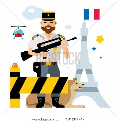 French Military with a gun at the barrier. Isolated on a white background