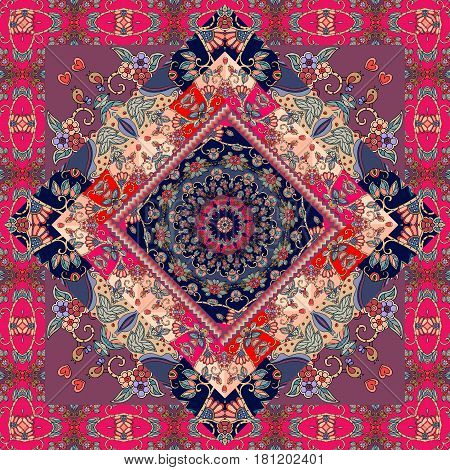 Cute carpet. Packaging design. Tablecloth. Pillowcase. Blanket. Russian patchwork style.