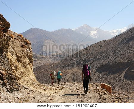 Group of backpackers trekking in Himalaya Mountains Annapurna Conservation Area Annapurna Circuit Trek Himalayas Nepal.