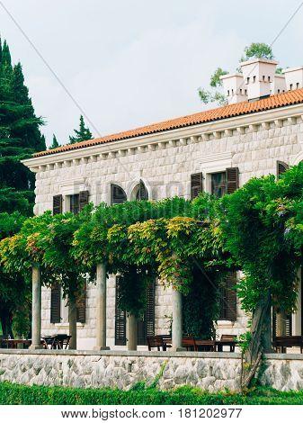 The park Milocer, Villa, beach Queen. Near the island of Sveti Stefan in Montenegro. Close-up of the villa.